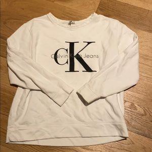 White Calvin Klein jeans sweatshirt